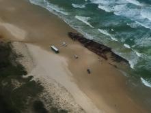 Maheno scheepswrak vanuit de lucht gezien